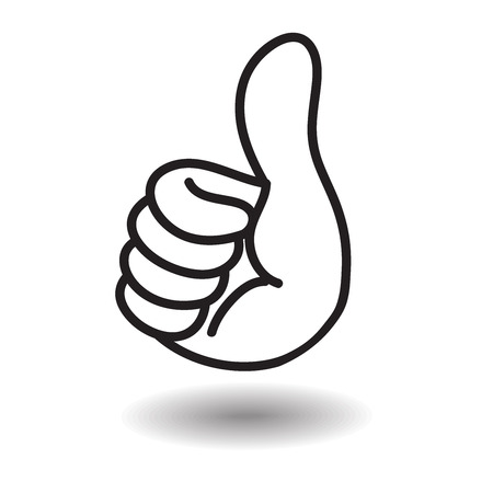 Big thumb up floating on white with shadow,highly congrate or admire