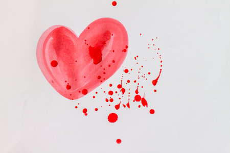 scatter: Red water color of heart shape with scatter color white paper Stock Photo