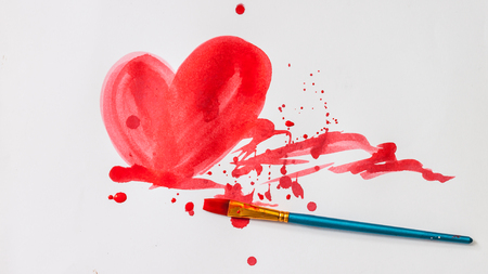scatter: Red water color of heart shape with scatter color and brush on white paper