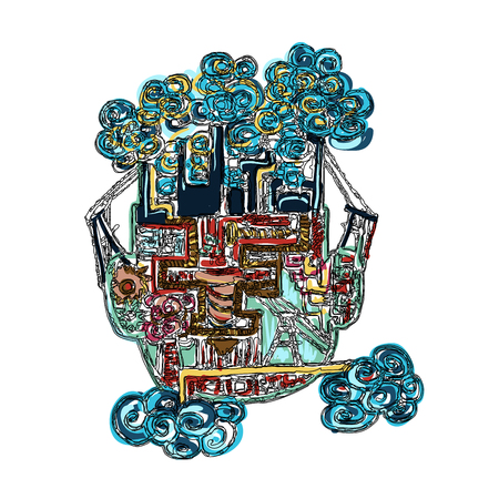 man made: Abstract drawing of human head, man made pollution concept Illustration