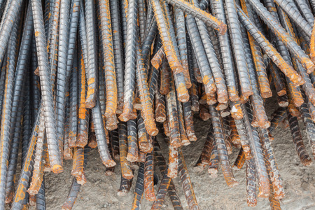 reinforcement: Stack of the metal rusty reinforcement bars Stock Photo