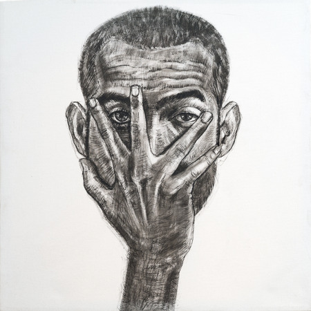 dissapointed: Drawing of asian man face hidden by hand,black ink on canvas Stock Photo