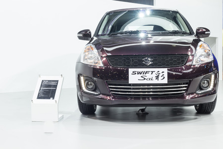 exposition: NONTABURI, THAILAND - 23 MAR : Suzuki Swift Sai,a compact car showed in Thailand the 37th Bangkok International Motor Show on 23 March 2016 Editorial
