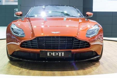 nontaburi: NONTABURI, THAILAND - 23 MAR : Aston Martin DB11, new 600bhp twin-turbo GT, showed in Thailand the 37th Bangkok International Motor Show on 23 March 2016