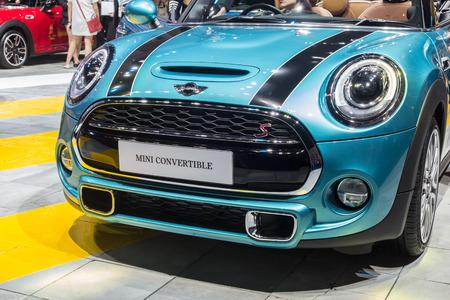 cooper: NONTABURI, THAILAND - 23 MAR : Mini Cooper convertible showed in Thailand the 37th Bangkok International Motor Show on 23 March 2016
