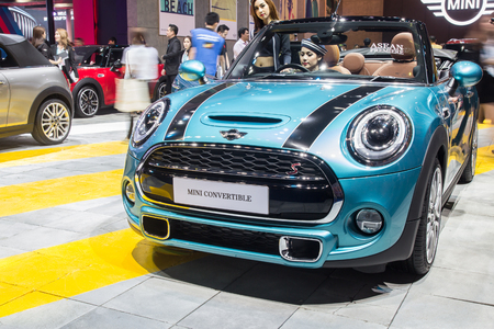 showed: NONTABURI, THAILAND - 23 MAR : Mini Cooper convertible showed in Thailand the 37th Bangkok International Motor Show on 23 March 2016