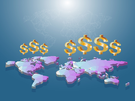 sucsess: Golden dollar sign floating on low poly of world map 3D with white struction line map on blue  background. Illustration