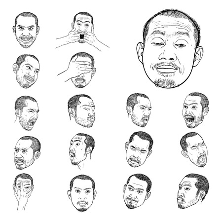 Drawing set of young asian mans portraits with different emotions