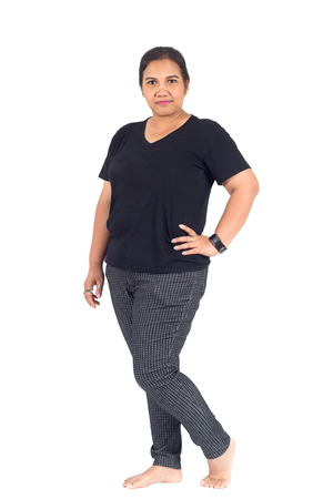plump: Thai plump woman in casual wear on white background Stock Photo