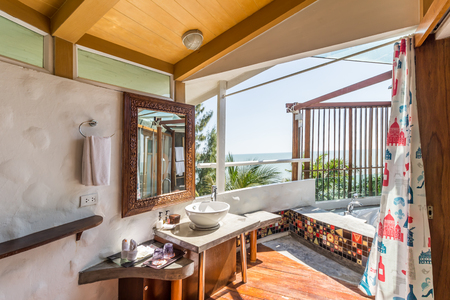 Interior Of The Modern Design Bathroom With Sea View Thailand Stock