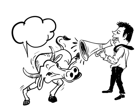 useless: Business man speaking by using bullhorn to buffalo,concept communication to anyone but useless