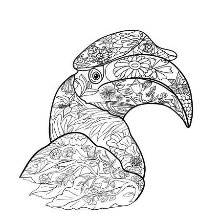 hornbill: Line art for coloring of great hornbill bird on white background,hand drawn sketch for adult antistress coloring page, T-shirt emblem, logo, tattoo with doodle, zentangle, floral elements.