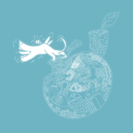 barking: White line art of cute dog barking on chipped apple with pattern for coloring on blue background Illustration