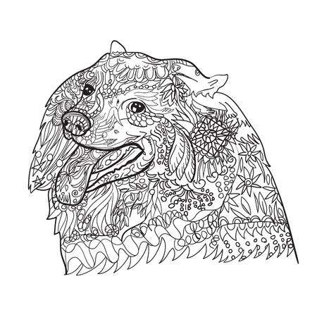 Arte De Línea De Lindo Perro Spritz Con Patrón Para Colorear Sobre ...