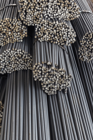 reinforce: Steel rods or bars used to reinforce concrete. Stock Photo