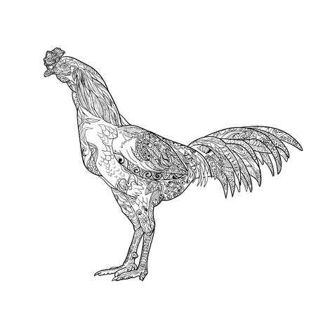 Line art of cock for coloring  isolated on white background,vector illustration Illustration