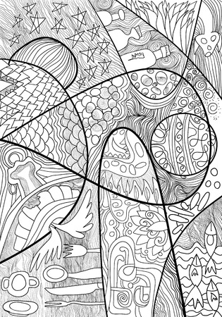 Abstract Line art,hand drawn sketch for adult antistress coloring page with doodle, zentangle, floral elements.