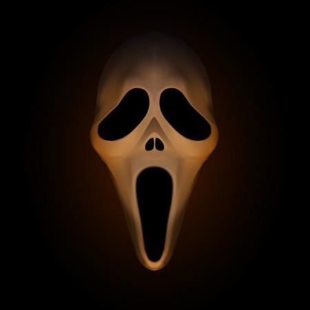 Masque Spooky Halloween sur fond brun foncé, illustration vectorielle