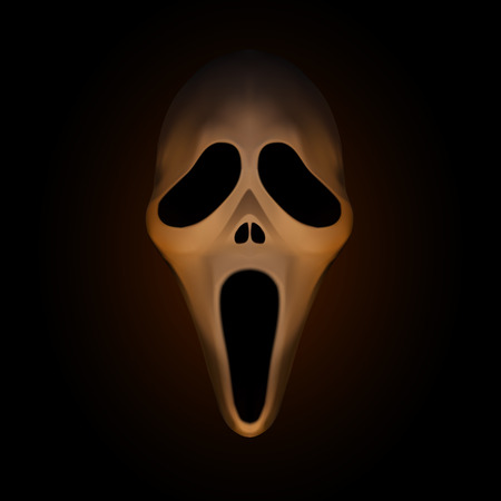 Spooky halloween mask on dark brown background,vector illustration
