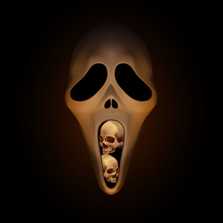 Spooky halloween mask with small human skull in mouth on dark brown background Illustration