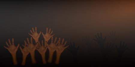 dark brown background: Human hand on dark brown background,halloween concept