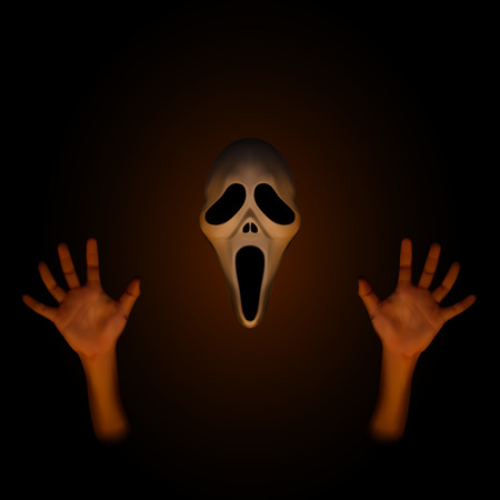 Spooky halloween mask with human hand on dark brown background