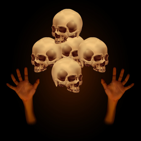 Stack of human skull with human hand on dark brown background Illustration