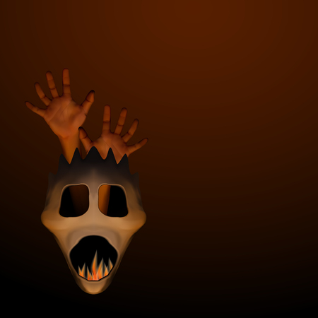 Spooky halloween mask with human hand and frame inside on dark brown background