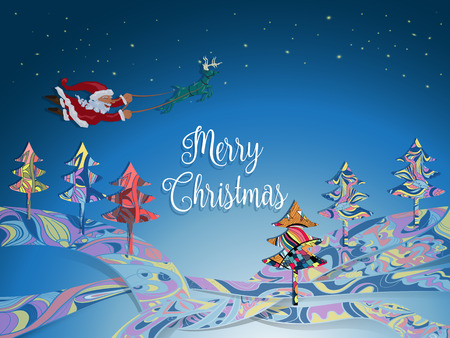 Santa without sleigh flying with deer in the winter night over colorful pine and ground with blinking star on blue sky background,happy christmas concept