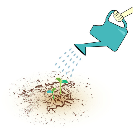 Hand holding watering can seedling and watering sprouts in dry earth,vector illustration