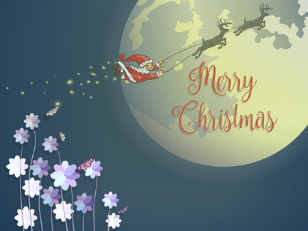 Butterfly and purple flower with flying santa and deer against big full moon on blue background Illustration
