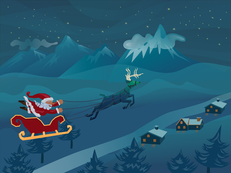 Santa with sleigh flying with deer in the winter night over pine ,house ,mountain background and star on sky