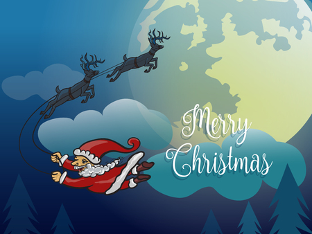 Santa without sleigh flying with deer in the winter night over pine ,cloud and big yellow moon Illustration