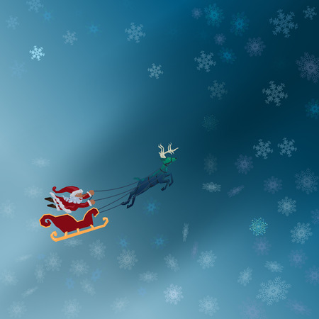 Santa with sleigh flying with deer in the winter night with snowflake pattern on blue background Illustration