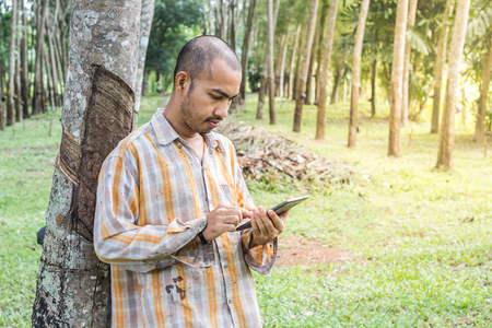 Young gardener man smiling while holding digital tablet in rubber tree garden