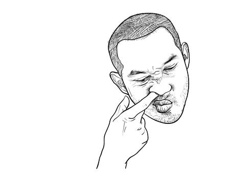 Dessin d'un homme asiatique en train de prendre son nez avec un visage drôle sur fond blanc Vecteurs