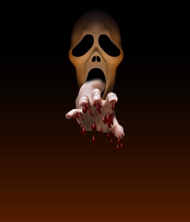 La main masculine, pleine de sang, s'étend de la bouche du masque de Halloween effrayant pour attraper quelque chose ou traiter quelqu'un avec un fond brun foncé, illustration vectorielle