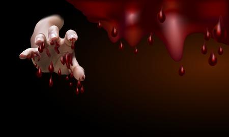 Main masculine, pleine de sang, tendu pour attraper quelque chose ou traiter quelqu'un avec un fond de sang tombant, illustration vectorielle Banque d'images - 86616063