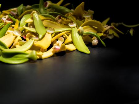 Petal of Climbing Ylang-Ylang, Manorangini, Hara-champa, Kantali champa,a tropical flower in Thailand,on black background