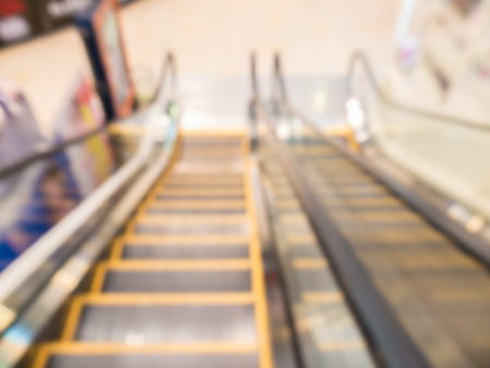 Defocus of escalater,view from top to ground,in department store,Thailand