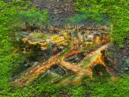 Double exposure of city of Bangkok at night on green moss grow on old wall,concept for development with nature Stock Photo