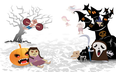 Halloween spooky background with children and ghost vector illustration.