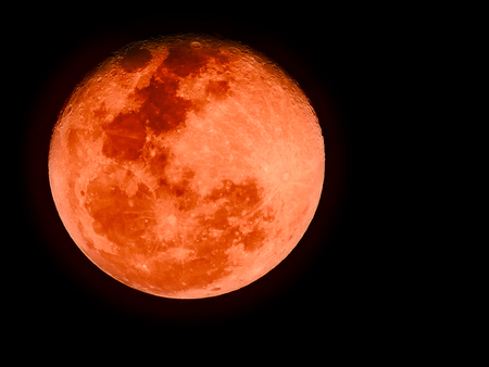 Bloodmoon or red moon,a natural phenomenon, on dark sky Stock Photo