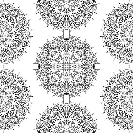 Seamless pattern Flower Mandala. Vintage decorative elements. Oriental pattern, vector illustration on white background. Illustration