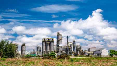 Oil refinery plant with  blue sky and cloud, Thailand