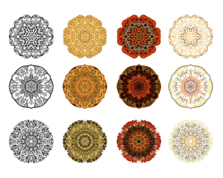 Set of Flower Mandala. Vintage decorative elements. Oriental pattern, vector illustration on white background, Coloring book page. Stock Photo