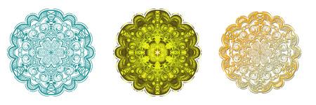 Set of Flower Mandala. Vintage decorative elements. Oriental pattern, vector illustration on white background, Coloring book page. Illustration
