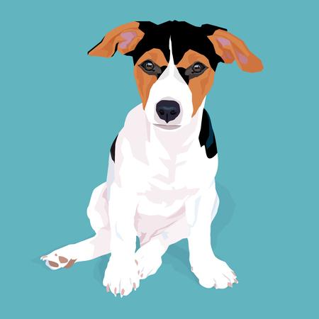 Entzückender niedlicher Jack Russell Terrier-Hund, der mit Schatten auf blauem Hintergrund, Vektorillustration sitzt.