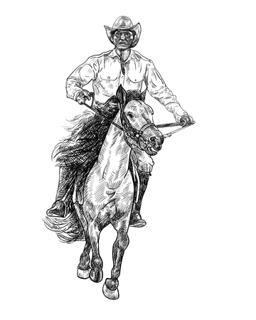 Drawing black and white of cowboy riding horse,vector illustration. Illustration