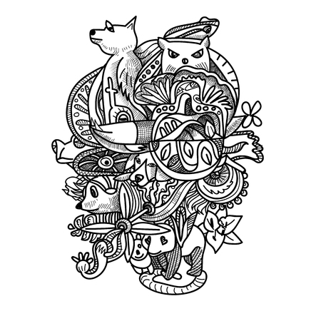 Drawing doodle of animals ,flower and abstract shape. drawing for relaxing or coloring book page. vector illustration Illustration